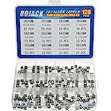 BOJACK 12 värden 120 st långsam blås glassäkringar sortiment kit 5 x 20 mm 250 V T0.5A 1A 1.25A 1.6A 2A 2.5A 3A 3.15A 4A 5A 6