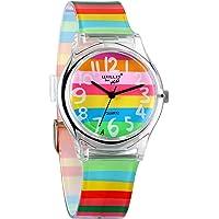 Avaner Orologio da Polso per Bambini Ragazza Disegno Arcobaleno Multicolori Cinturino di Plastica Regalo Perfetto