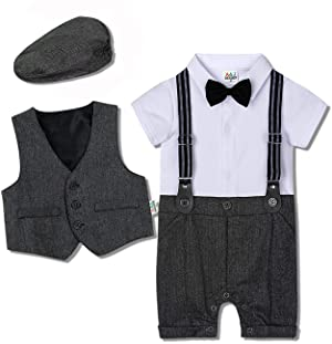 puseky Toddler Baby Boys Gentleman Suit Bow Tie Shirt Tops+Waistcoat+Pants Formal Outfits Set