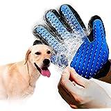 Trevik Efficient Pet Hair Remover Mitt Enhanced 5 Finger Design Gentle Deshedding Brush Gloves for Dog and Cat with Long…