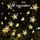 Tanouve Cadena Luces Solares, Guirnalda luces LED con 7M 50 Estrellas LED en Color Blanco Cálido Impermeable Decoración Exter