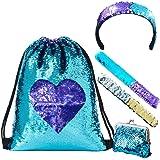 LURICO Mermaid Paillettes Zaino Borsa Paillettes Reversibili con Lacci Glittering Outdoor Tracolla Glitter Coulisse Zaino Mod
