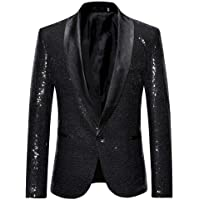 Mens Charm One Button Fit Formal Classic Blazer Wedding Party Sequins Jacket Suits Casual Luxury Vintage Retro Smart…