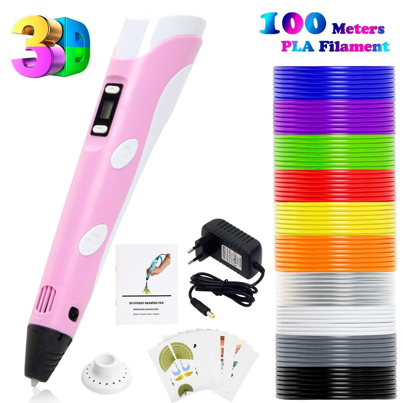 PLUSINNO 3D Pen Filament Stylo 3D Doodle DIY Scribbler Imprimante 3D Pen avec écran LCD + 13 PLA Filament (10 Couleurs différentes) + 10 Modèles en Papier pour la Pratique de l'UE