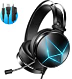PeohZarr Casque Gaming, Micro Casque Gaming PS4 PS5 Switch Ecouteur avec Micro Anti Bruit Casque Gamer Filaire LED Lampe…