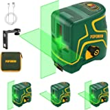 Livella laser Verde 45M, USB Ricarica, Linea Laser a Croce POPOMAN, Doppi Modalità, Autolivellante e Funzione Impulso, 120° G