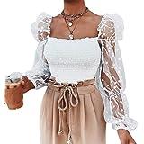 Blusa Camicetta da Donna Ragazza Primaverile Autunnale con Maniche Lunghe a Sbuffo a Pois Casual Elegante Moda
