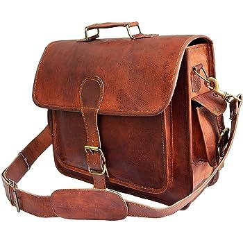 """Mens Genuine Leather messenger bag for 15.6"""" laptop shoulder bag briefcase satchel gift"""