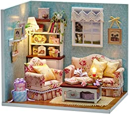 KARP Doll House - Mini Wooden Dollhouse Miniature DIY House Kit Creative Room with Furniture and Cover