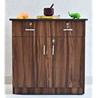 SamDecors Engineered Wood Two Door and Two Draw Jeff Filing Cabinet/Shoe Rack with Three Compartments (Colour - Walnut)