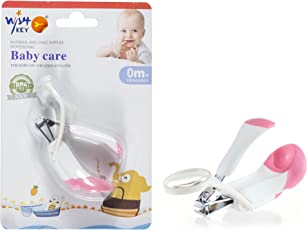 Nail Cutter for Baby Kids by Wishkey | Safety Pink Nail Clipper with Magnifying Glass | BPA free Easy Grip For New Born Baby Finger Toe Nail Scissors with Magnifier | Nail Trimmer Manicure Grooming Care Tool