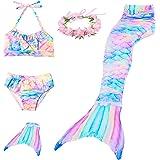 Conjunto de bikini de princesa con cola de sirena, traje para niñas, con aleta