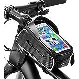 Fahrrad Rahmentasche, Baonuor Wasserdichte Fahrrad Handytasche mit Kopfhörerloch, Farhrradlenkertasche Fahrrad Rahmentaschen für 6 Zoll Handys, iPhone,Samsung,Fahrrad Handyhalterung, für mtb, Rennrad, Straßenrand und andere Fahrräder