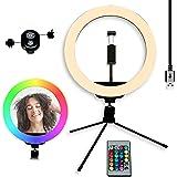 Aro de Luz con Tripode 10'', Anillo de Luz para Móvil con 15 Colores RGB + 10 Niveles de Brillo y 3 Modos de Luz, Grabación d