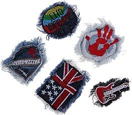 MagiDeal 5 Piece/set Denim Jeans Fabric Trim Pants Clothes Applique Patches Badge for Sewing Crafts DIY