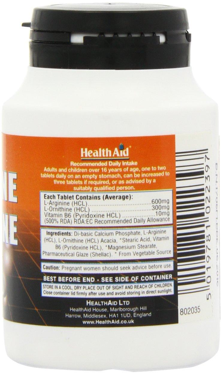 71XoTt6Ar3L - HealthAid L-Arginine with L-Ornithine 300mg - 60 Tablets