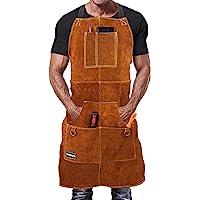 Grembiule Saldatore Professionale in Pelle con 6 Tasche per Utensili. Grembiule Uomo da Lavoro di Cuoio Molto Resistente…