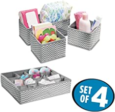 House of Quirk Fabric Storage Organizer with Compartments - Set of 4 Gray/Cream