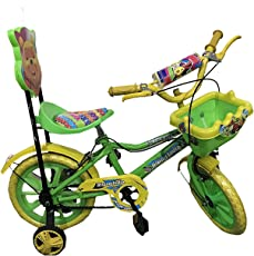 "Rising India 14"" Kids Bicycle for 3-5 Years Aqua Seat Fan Wheel with Basket -semi Assembled"