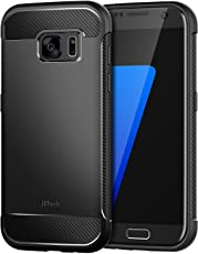 JETech Hülle für Samsung Galaxy S7 Tasche mit Stoßdämpfung und Carbon Faser (Schwarz)