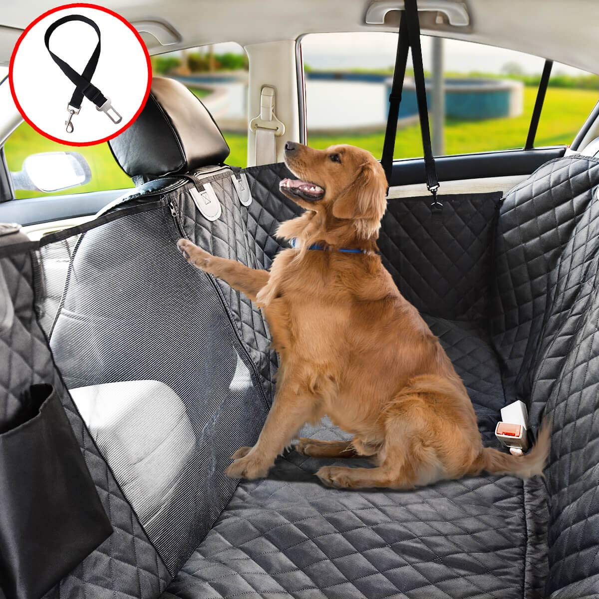 Vailge Dog Seat Cover for Back Seat, 100% Waterproof Dog Car Seat Covers with Mesh Window, Scratch Proof Nonslip Dog Car Hammock, Car Seat Covers for Dogs Backseat for Trucks SUV 64 x 62 in
