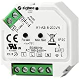 ZigBee 3.0 infälld väggdimmer, 1 kanal för max 230 V. 200 W LED 400 W halogen med tryckknappsanslutning fasavsnitt kontroll f