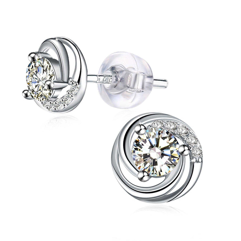 J.Rosée Pendientes Mujer, Pendientes de Diamantes Pendientes de Perlas Plata de Ley 925 Clásico Joyería para Mujeres Niñas Regalos de Navidad