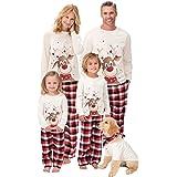 QINQI Parent-Child Pajamas Set, Family Matching Christmas Pajamas, Long-Sleeved Home Wear, 2-Piece Suit, Top and Pants