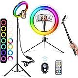 """A-TION RGB Aro de Luz con Trípode para Movil, 10"""" Anillo de Luz Selfie, 26 RGB Colores 3 Modos 10 Niveles de Aro Luz con Mand"""