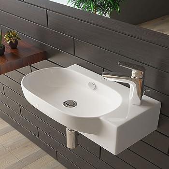 Handwaschbecken mit Überlauf Waschtisch Weiß Keramik Waschbecken ...