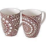 Lot de 2 mugs en porcelaine Mandala Blanc/rouge 330 ml Hauteur 10 cm Diamètre 8 cm