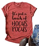 FENKAY It's Just A Bunch of Hocus Pocus Halloween T-Shirt Short Sleeve Sanderson Sisters Graphic Tee for Women