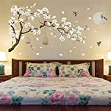 QIERK Muurstickers 187 128 cm grote maat boom muurstickers vogels en bloemen woondecoratie behang woonkamer slaapkamer DIY
