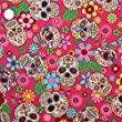 Retro Mexican Style Floral & Skulls Fabric 1 METRE Cerise Pink 100% Cotton.