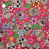 FabricsFantastic Retro Mexiko Stil Floral & Skulls Stoff