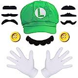 iZoeL Super Luigi Hat Kit incl. Luigi Green Hat + 2x white gloves + 7x mustache + 2x 5cm buttons for Luigi Party Character Ga