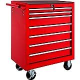 TecTake Chariot d'atelier servante à outils   7 tiroirs spacieux verrouillables   -diverses modèles- (Rouge   No. 402799)