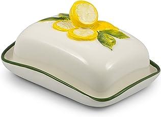 Bassano Ausgefallene italienische Keramik Butterdose mit Zitronendekor 18x14