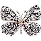 Belons, elegante spilla a forma di farfalla con diamanti sintetici in cristallo, per feste nuziali, da donna e ragazza, nero/