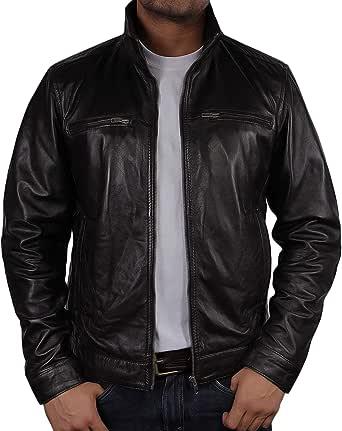 BRANDSLOCK Mens Real Leather Biker Brown Jacket Coat Designer