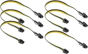 Com Four 6 Pci Express Grafikkarten Kabel 6 Pin Stecker Zu 8 Pin Stecker 49 Cm 06 Stück Pci Express Kabel Gelb Küche Haushalt