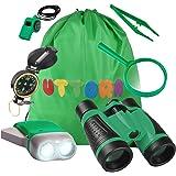 UTTORA Set di Binocolo per Bambini, 7 in 1 Giocattoli per Avventurose Esplorazioni della Natura, Binocolo, Torcia a LED Porta