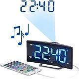 auvisio Funk Radiowecker: Projektions-Radiowecker mit Curved-Display, Dual-Alarm & USB-Ladeport (Wecker mit Mehreren Weckzeiten)