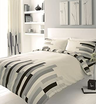homemaker bedding block printed king size duvet cover bed set grey black and cream amazoncouk kitchen u0026 home
