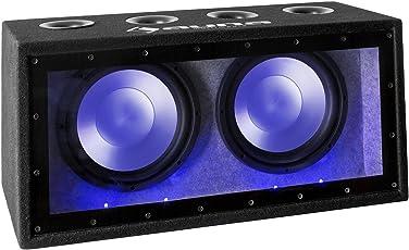 auna Cannonbeat TX12 • passiver Auto Subwoofer • Doppel-Subwoofer • 2 x 300 Watt RMS • 2 x 12 Tieftöner • Blauer LED-Lichteffekt • Filz-Beschichtung • schwarz