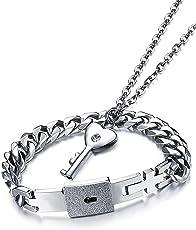 Impression Newest Design Engraved Lock and Key Stainless Steel Couple Bracelet Pendant Necklace Set for Boys, Girls, Men & Women