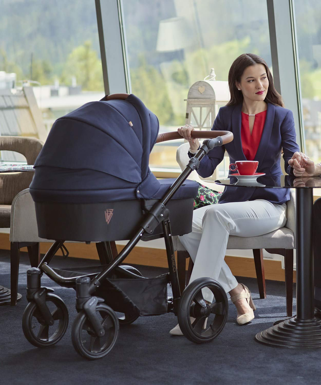 Venicci Gusto 3-in-1 Travel System - Navy - with Carrycot + Car Seat + Changing Bag + Footmuff + Raincover + Mosquito Net + 5-Point Harness and UV 50+ Fabric + Car Seat Adapters + Cup Holder  3 in 1 Travel System with included Group 0+ Car Seat Suitable for your baby from birth onwards 5-point harness to enhance the safety of your child 5