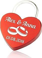 Geschenkfreude Liebesschloss Gravur/Liebesschloss mit Gravur und Schlüssel/personalisiertes Schloss- perfektes Geschenk zur Hochzeit/Herzschloss rot
