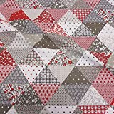 Stoff Baumwollstoff Meterware Patchwork taupe rot weiß Dreieck aus Frankreich