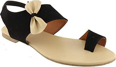 Foot Wagon Black Velvet Flats with Creame Bow | Black Slippers |Black Straps | Creame Bow | Flats |Ladies Sandal|Toe Flats|Women Flats | Ladies Slippers |Girls Slippers | Chappals|